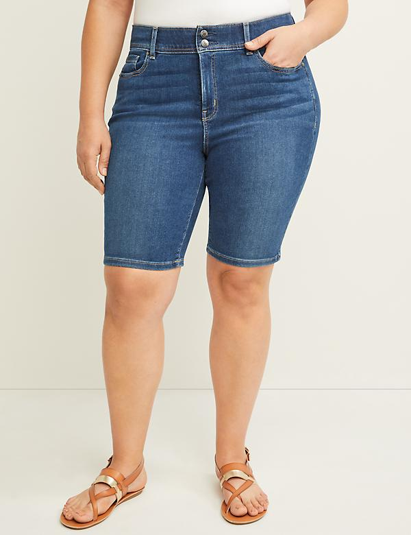 Tighter Tummy Denim Bermuda Short - Medium Wash