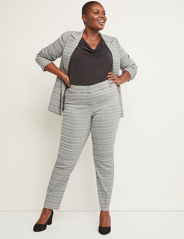 Power Pockets Allie Sexy Stretch Ankle Pant - Plaid
