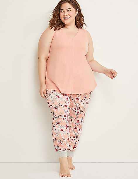 Eco-Chic Floral Cropped Sleep Jogger