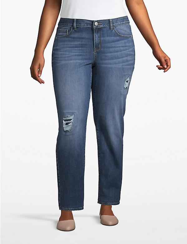 Venezia Straight Jean - Destructed Medium Wash