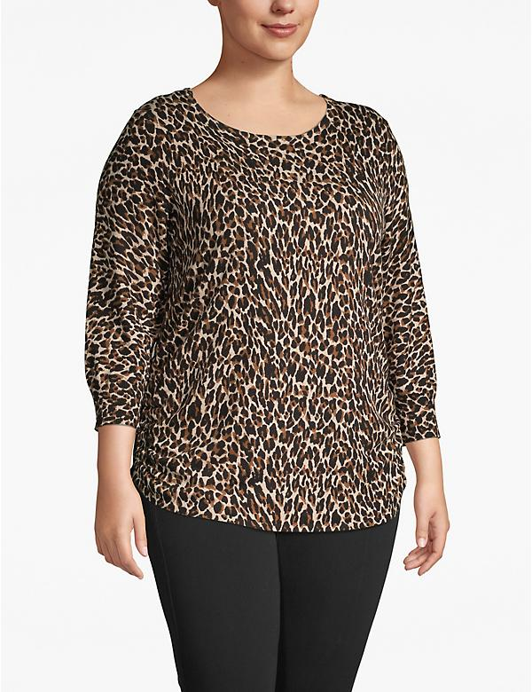 3/4-Sleeve Cheetah Print Ruched-Side Sweater