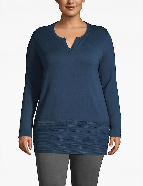Notch-Neck Sweater with Pointelle Hem