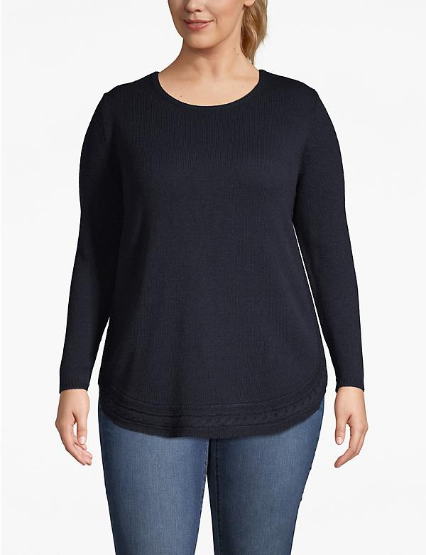 Cable Trim Tunic Sweater
