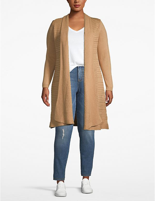 Textured Stripe Open-Front Cardigan