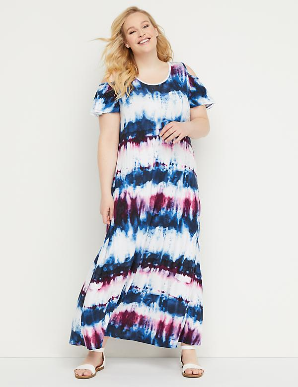Tie-Dye Cold-Shoulder Maxi Dress
