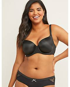 Cacique Lane Bryant Black Smooth Balconette Bra Lightly Lined Underwire 38F 38