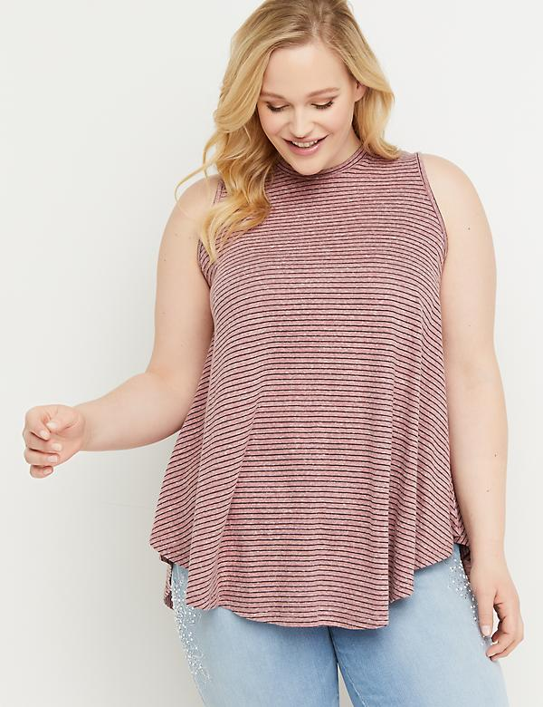 Striped High-Neck Drapey Tank
