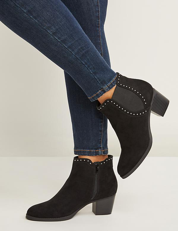 Studded Faux Suede Ankle Boot