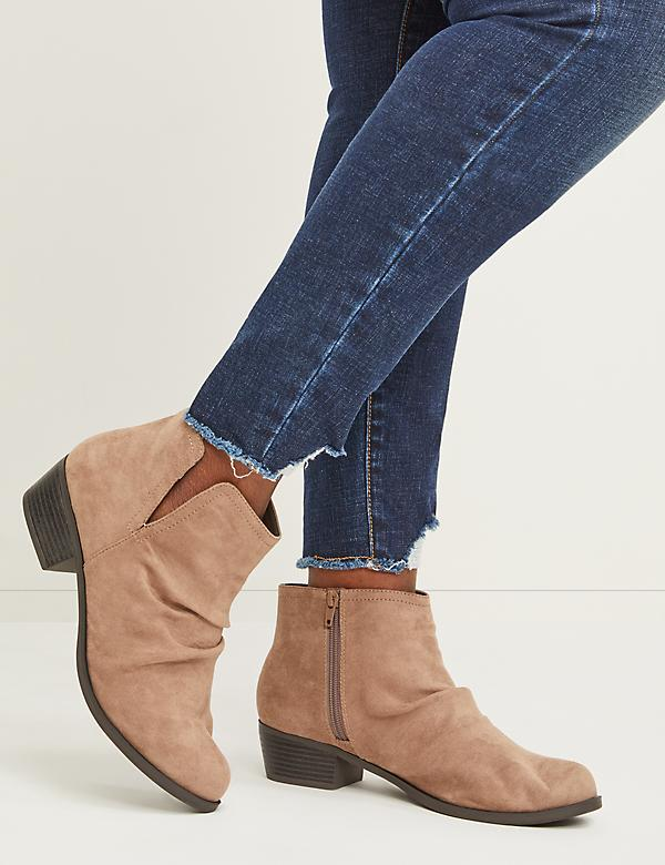Faux Suede Scrunch Ankle Boot