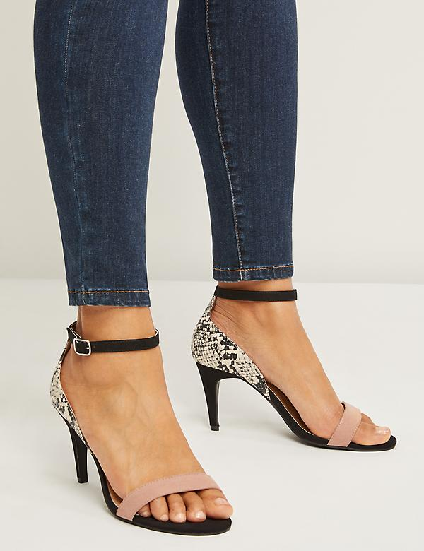 Mixed-Fabric Ankle-Strap Heel
