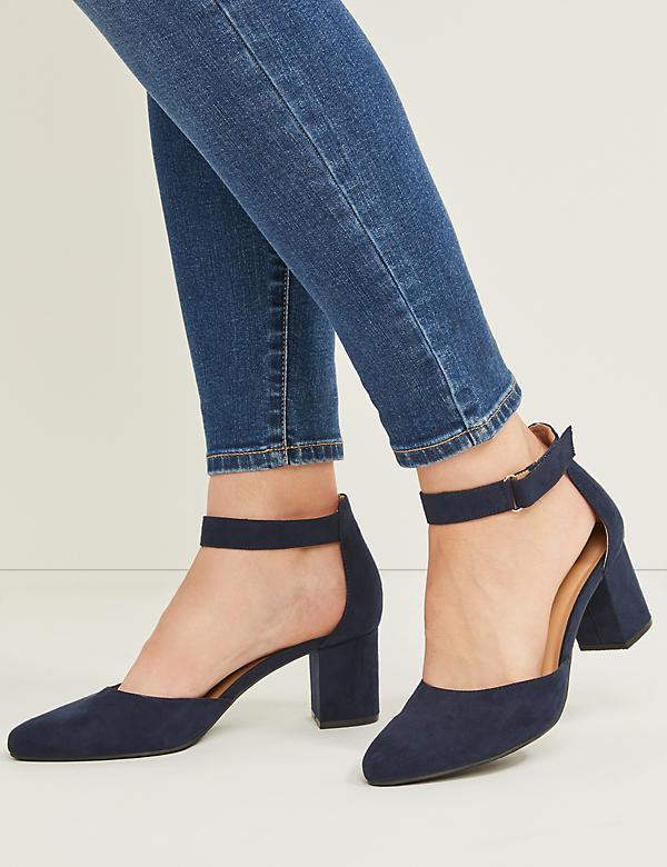 Faux Suede Ankle-Strap Block Heel