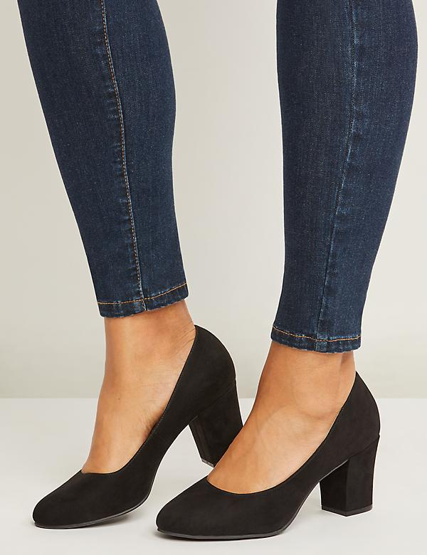 Faux-Suede Almond-Toe Block Heel