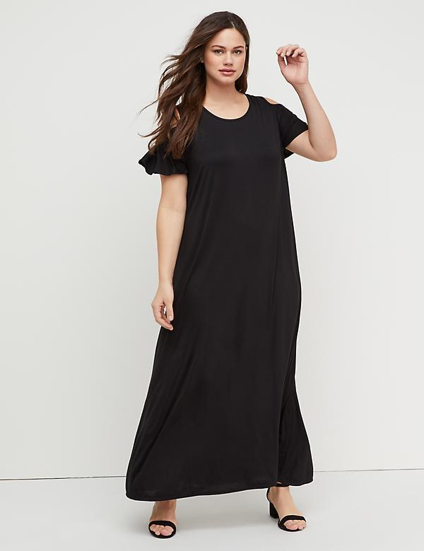 757215bc0e7d Cold-Shoulder Scoop-Back Maxi Dress