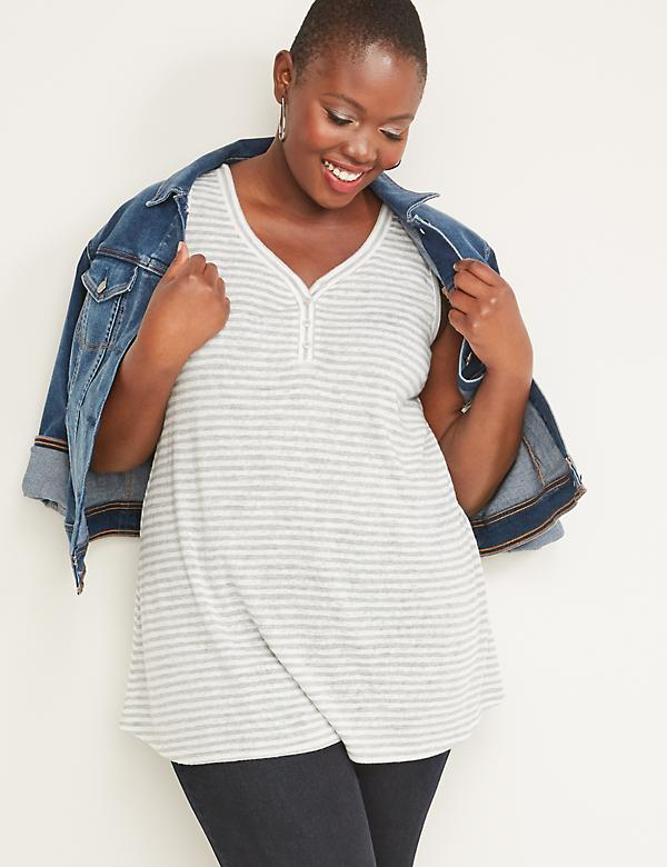 Striped Henley Swing Tank