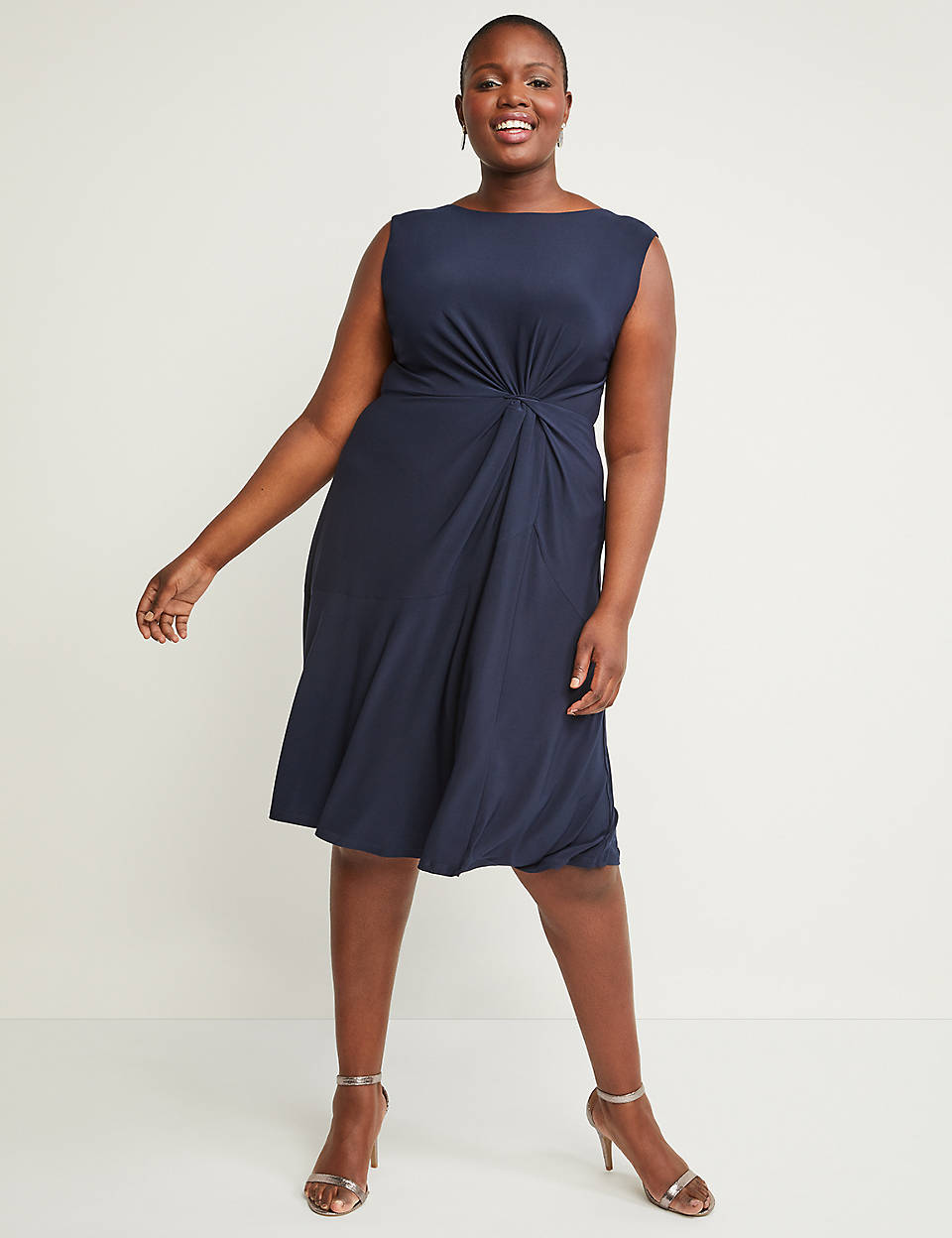 1b66cc7c8084 Side-Twist Fit & Flare Dress   Lane Bryant