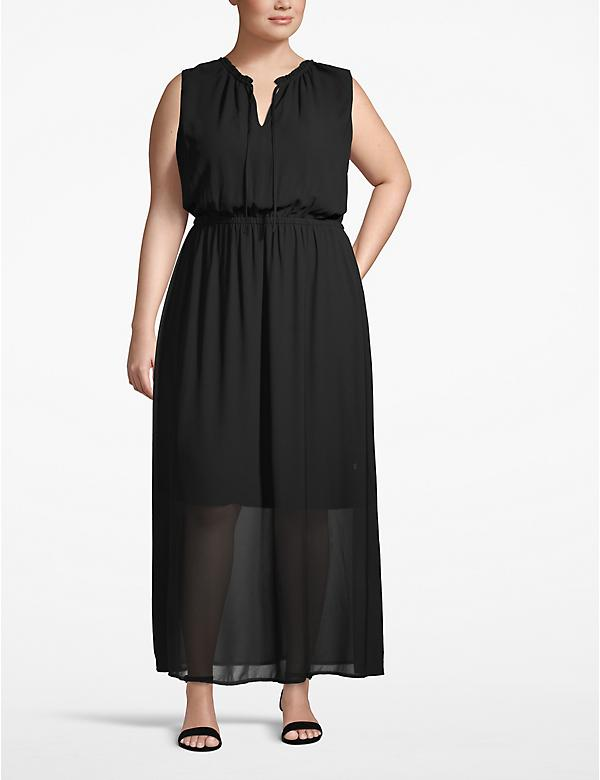 Ruffle Tie-Neck Maxi Dress