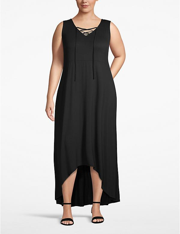 Lace-Up High-Low Maxi Dress