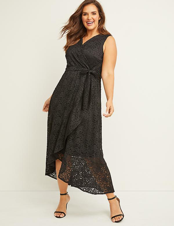 Lace Faux-Wrap Midi Dress