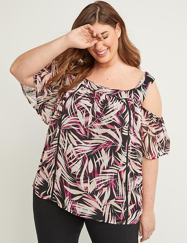 Cold Shoulder Top - Square Neck