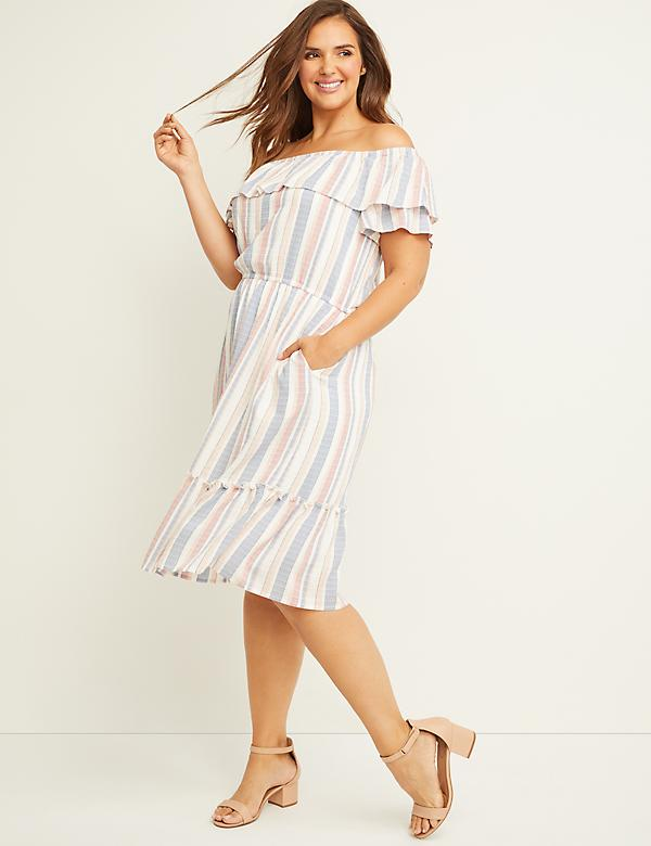 Ruffled Off-the-Shoulder Fit & Flare Dress - Striped