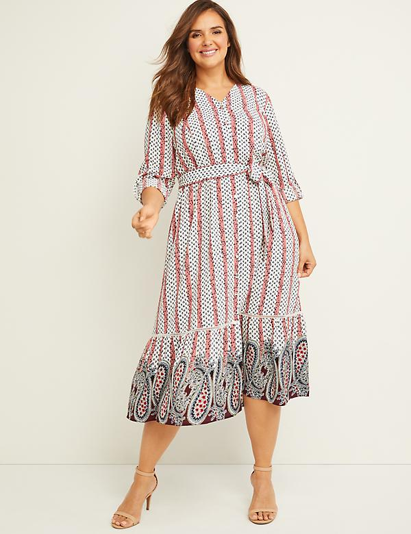 Printed Button-Front Midi Dress