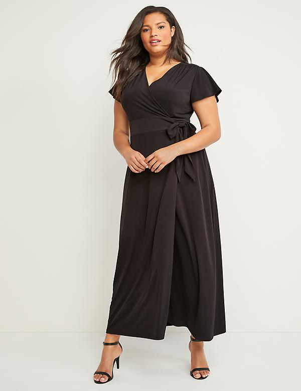 Flutter Sleeve Maxi Wrap Dress