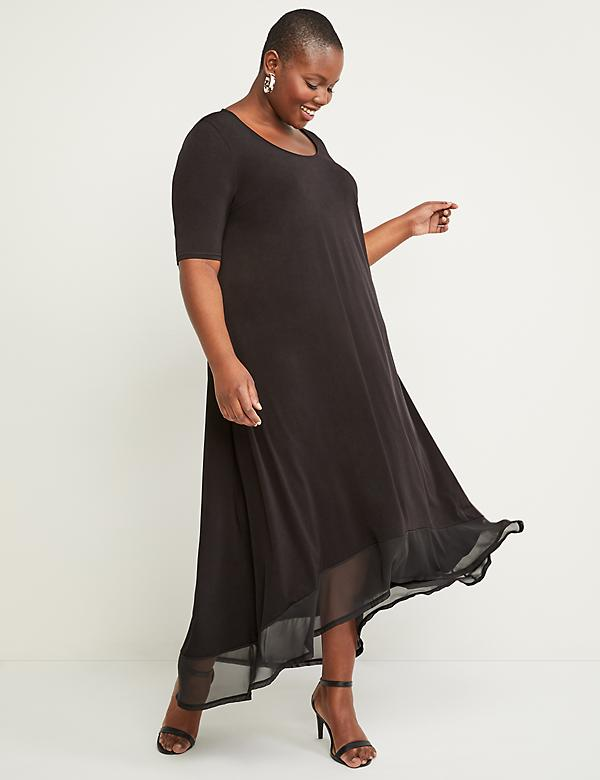 High-Low Chiffon-Hem Maxi Dress