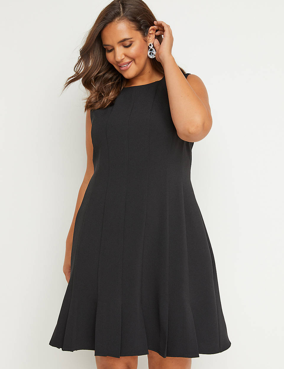 7ed16e04442 Seamed   Pleated Fit   Flare Dress
