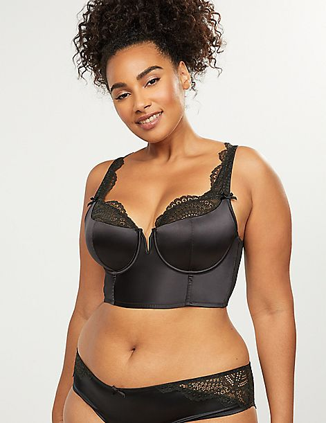 Longline French Balconette Bra - Satin with Lace