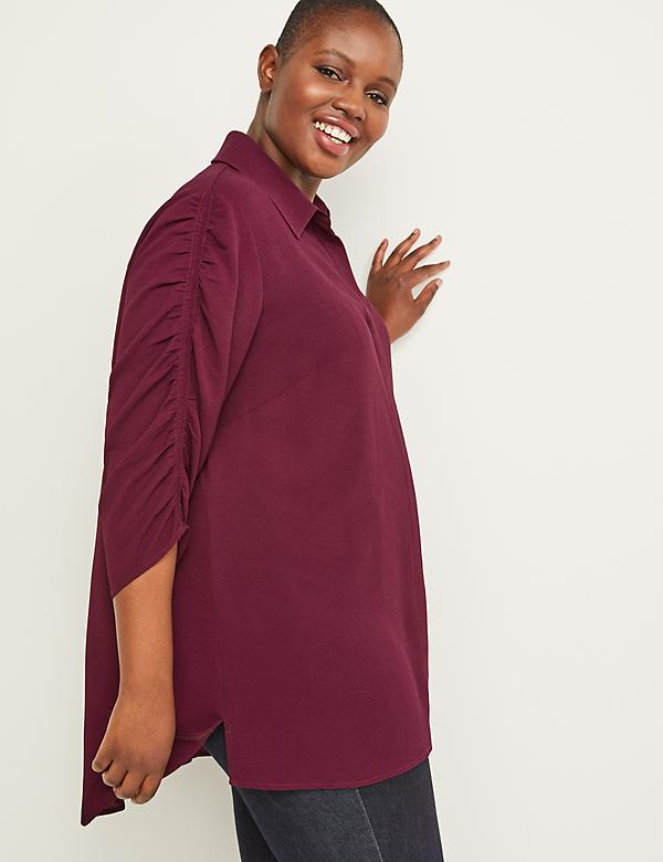 Ruched-Sleeve Tunic Top