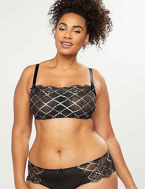 Unlined Bandeau Bra - Checked Lace