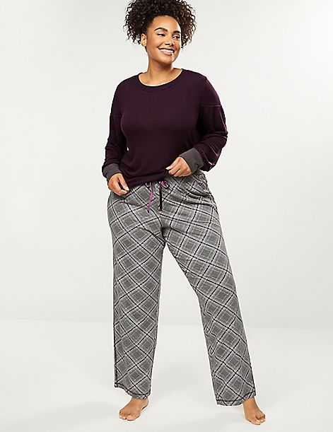 Plaid Sleep Pant with Satin Tie