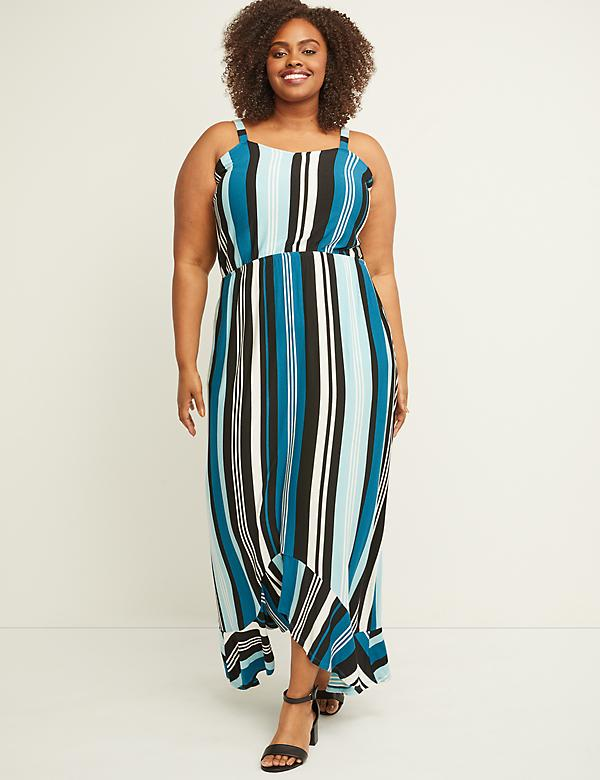 Striped High Low Dress
