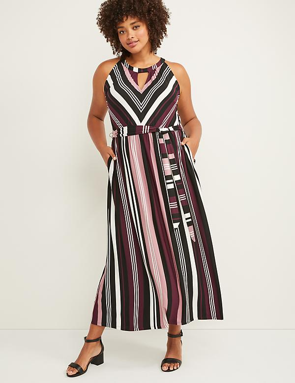 Sleeveless Cutout-Neck Maxi Dress