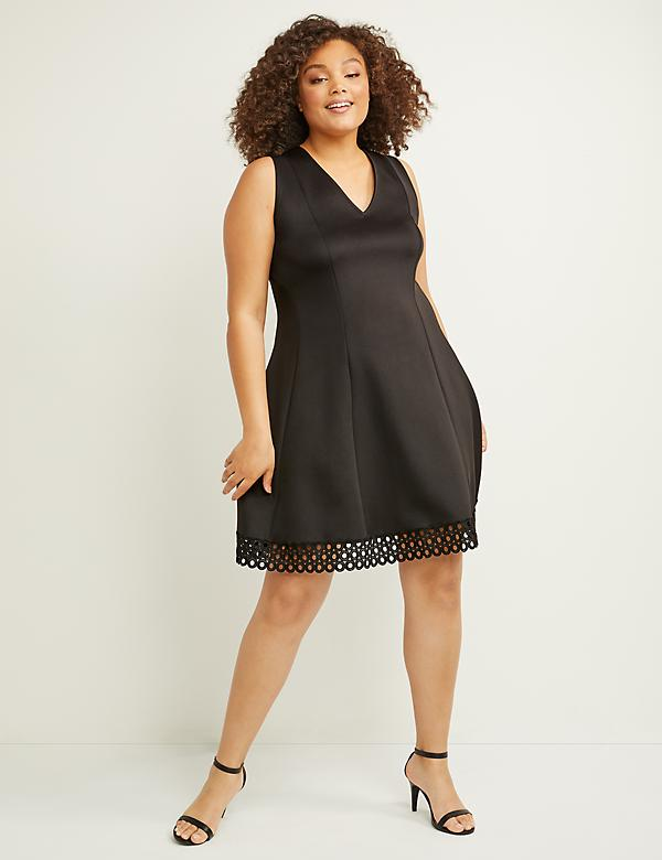 Scuba Crochet-Hem Fit & Flare Dress