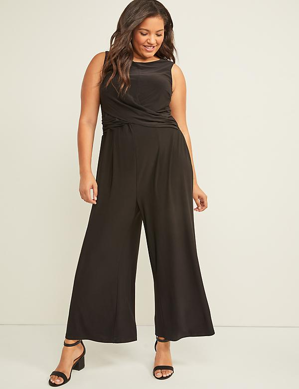 Sleeveless Draped-Front Jumpsuit