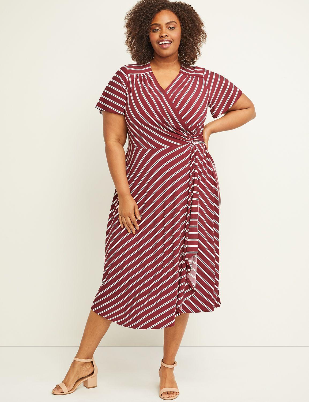 Lane Bryant Women's Striped Faux-Wrap Midi Dress 26/28 Burgundy Stripe