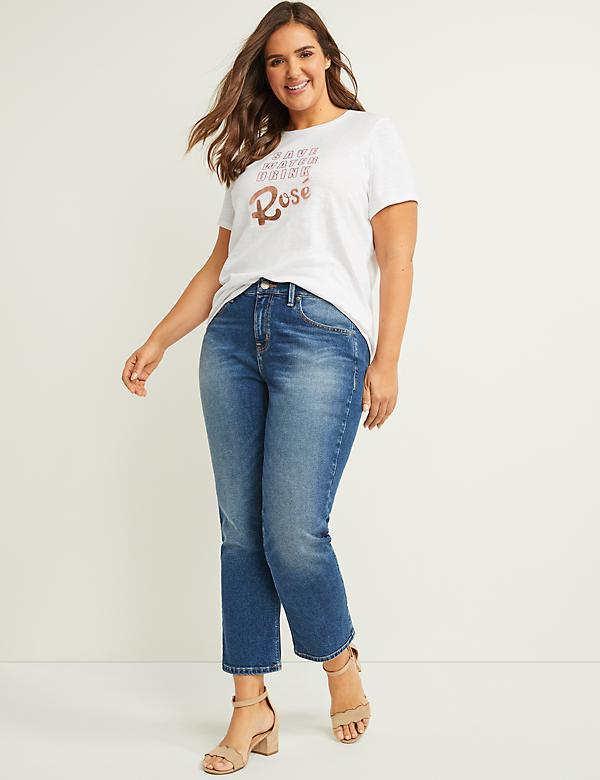High-Rise Straight Crop Jean - Light Wash
