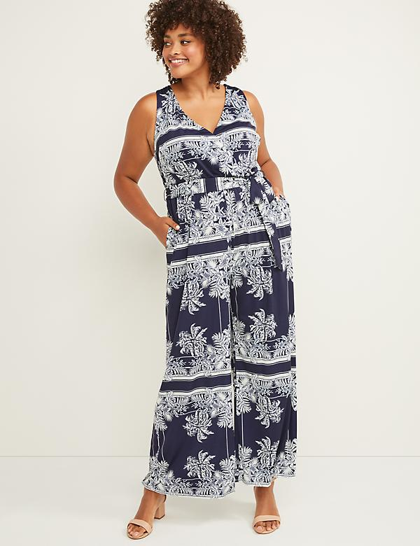 Printed Jumpsuit with Back Embellishment