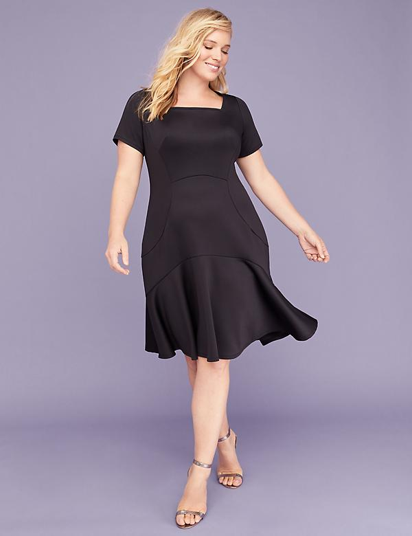 Square-Neck Scuba Fit & Flare Dress