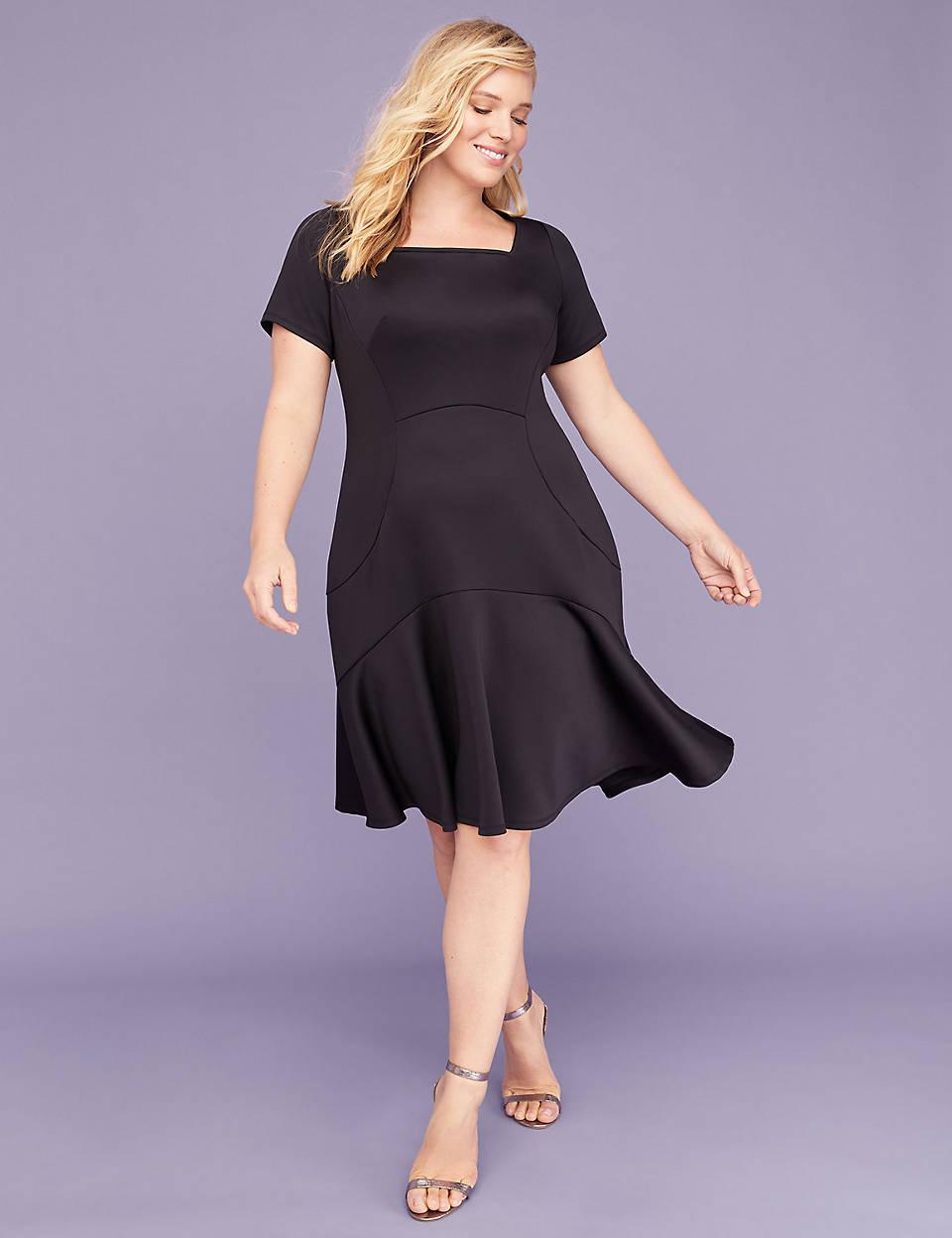 e9faaebbe469f Square-Neck Scuba Fit & Flare Dress | Lane Bryant