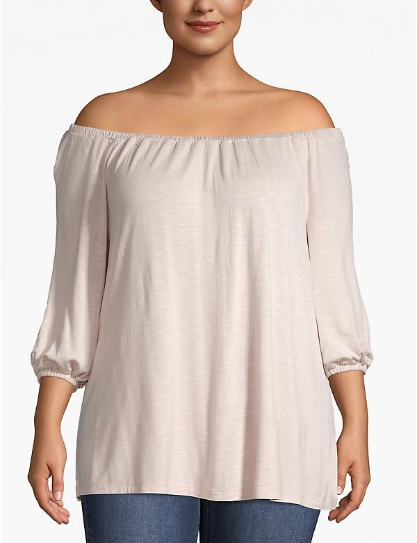 3/4-Sleeve Off-the-Shoulder Swing Tee