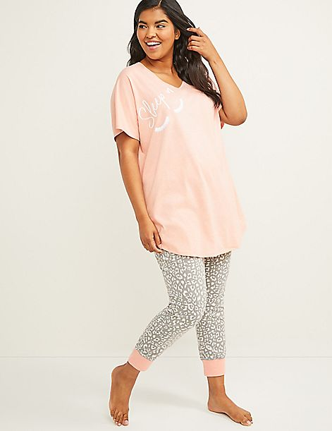 Graphic Tee & Crop Legging PJ Set