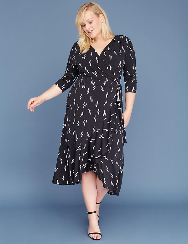 40ce5d86db3c 3/4 Sleeve Matte Jersey Wrap Dress
