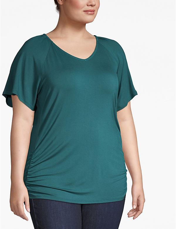 Pleated-Shoulder Tee