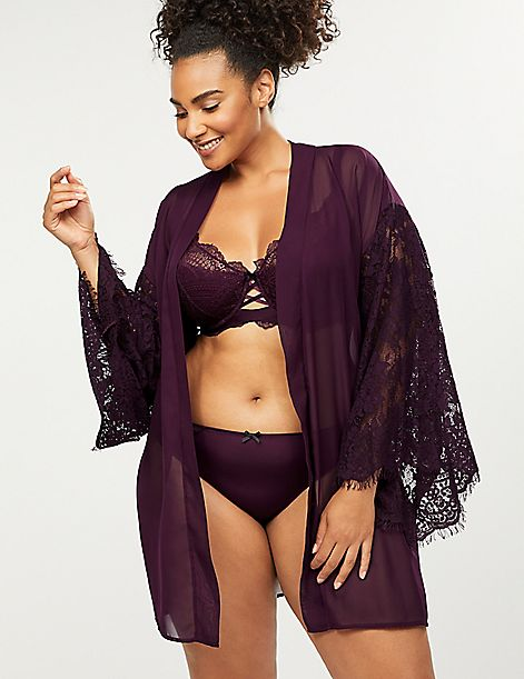 Chiffon Robe with Lace Sleeves