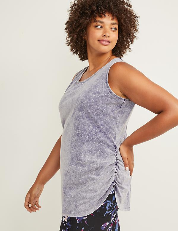 LIVI Active Washed Ruched-Side Tunic Tank