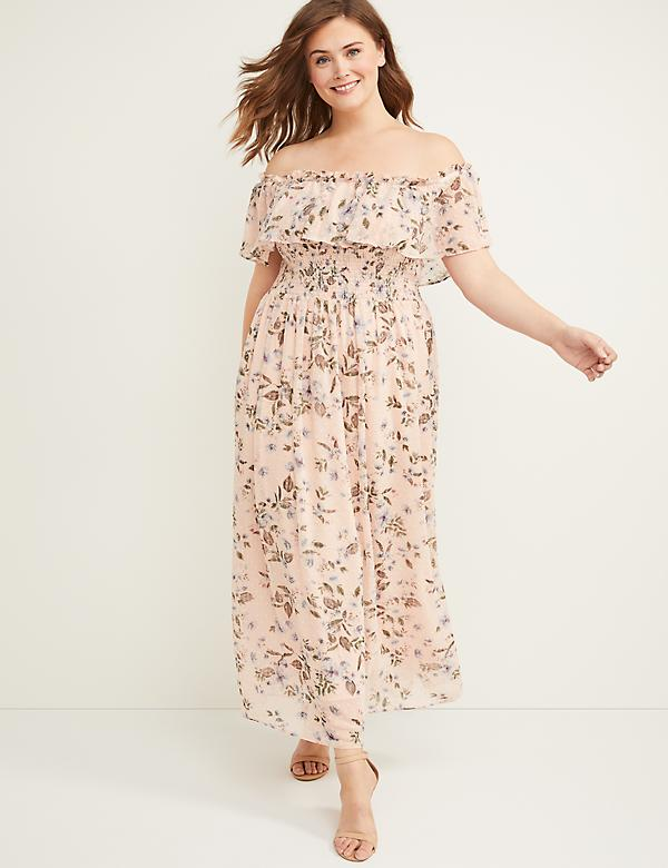 Textured Off-the-Shoulder Maxi Dress
