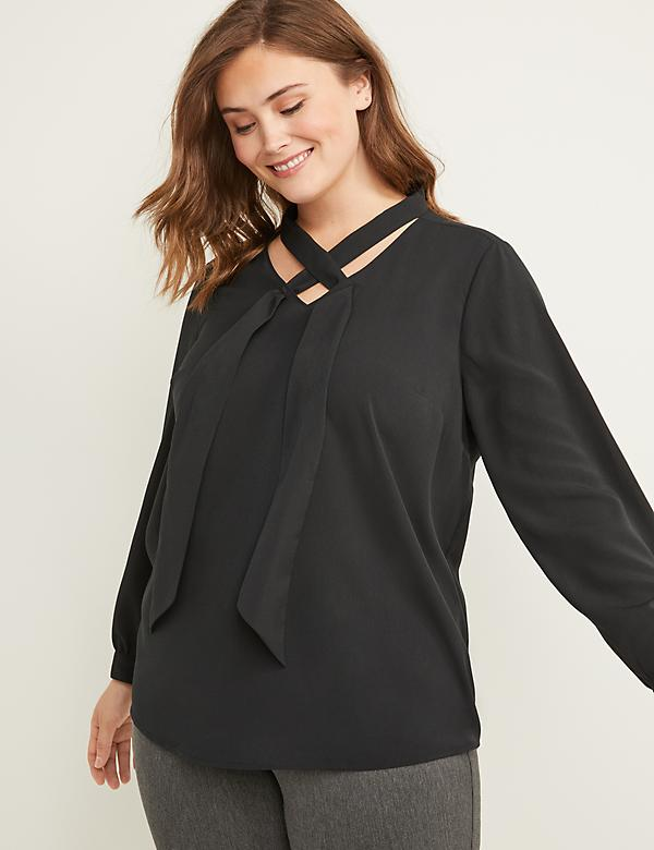 Tie-Neck Soft Shirt