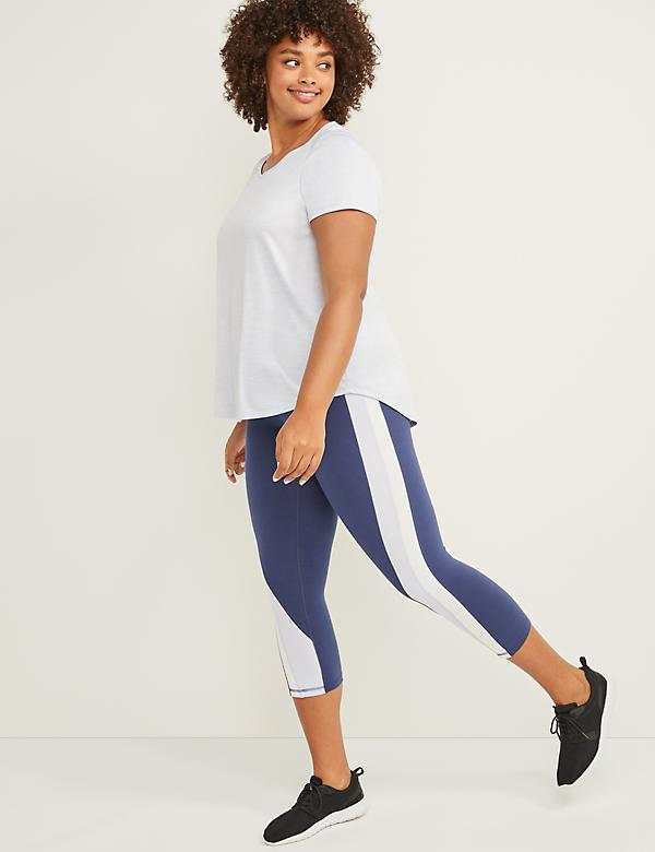 LIVI Active Signature Stretch Capri Legging - Colorblock Stripe